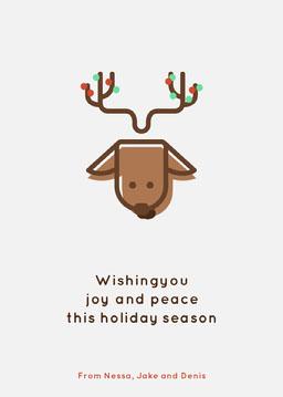 Brown Reindeer Happy Holidays Card jeff-test-5