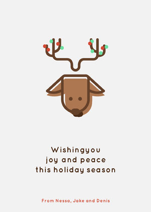 Brown Reindeer Happy Holidays Card Christmas Card