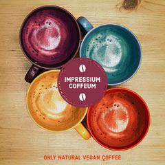 Multicolored Vegan Cafe Instagram Post Ad with Logo and Coffee  Vegan
