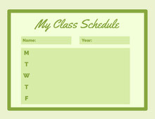 Green Weekly Class School Schedule 일정