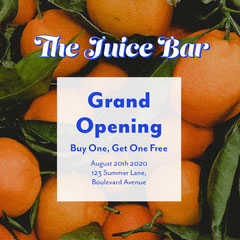 orange blue fruit juice bar opening Grand Opening Flyer