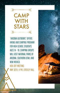 Hiking and Camping Program Flyer with Tent under Night Sky Hike