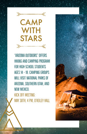 Hiking and Camping Program Flyer with Tent under Night Sky Camping Poster