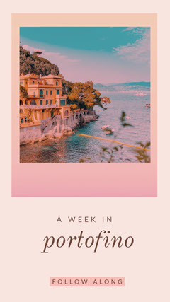 Pink and View of Portofino Social Post Italy