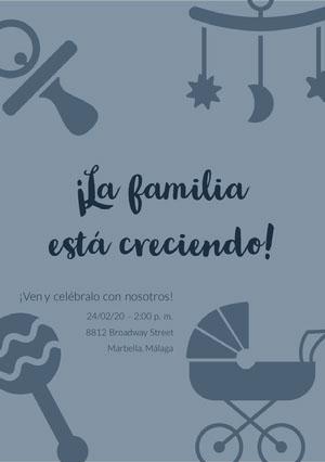 the family is growing baby shower invitations  Invitación de fiesta de nacimiento