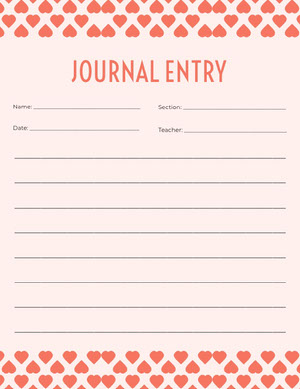 Red Journal Entry Writing School Worksheet Hoja de cálculo