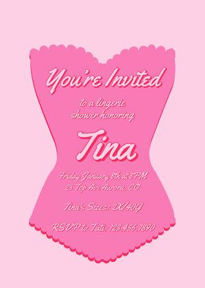 Pink Corset Lingerie Shower Invitation Lingerie Shower Invitation