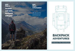 White and Grey Backpack Adventures Brochure Agency