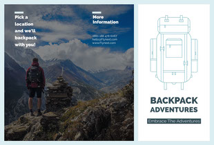 White and Grey Backpack Adventures Brochure Folleto