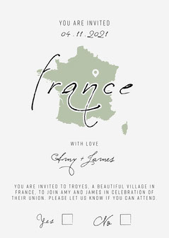 Green and White France Wedding Invitation Card France