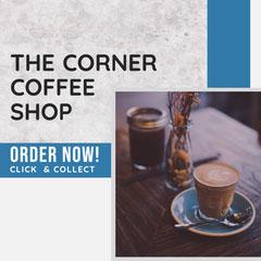 Blue & Grey Texture Coffee Corner Instagram Square Coffee