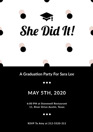 Black Graduation Announcement Card with Mortarboard Graduation Announcement