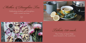 Claret Mother and Daughter Tea Cafe Advertisement Ads Banner
