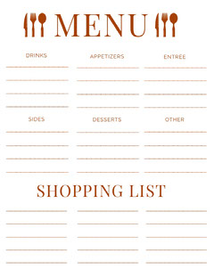 Red Meal Planner with Shopping List Drink Menu