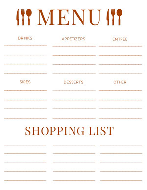 Red Meal Planner with Shopping List Menu de la semaine