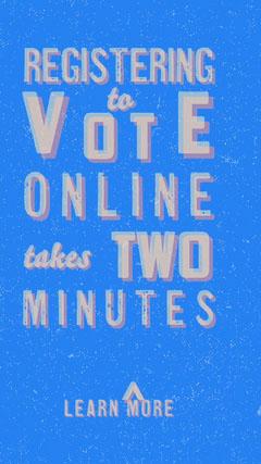 Blue Orange and White Registering To Vote Online Instagram Story Voting