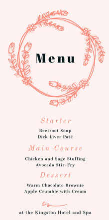 Orange Floral Wreath Wedding Menu Menu bruiloft