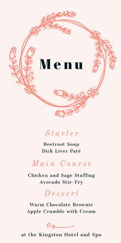 floral ring wedding menu  Flowers