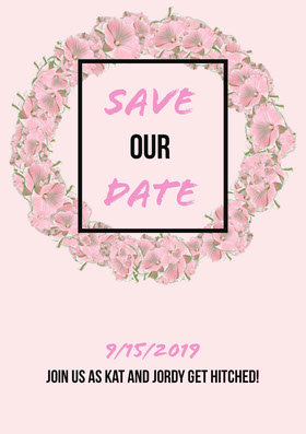 Pink Floral Sate the Date Wedding Invitation Card Annonce de mariage