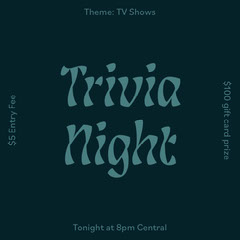 Navy Blue and Teal Simple Trivia Game Night Announcement Instagram Square Gift Card