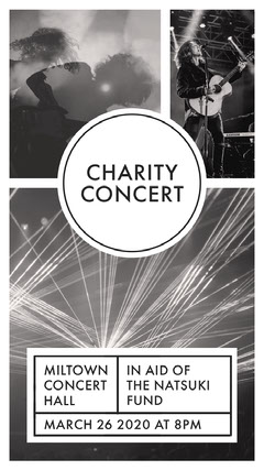 Black and White Charity Concert Instagram Story Fundraiser