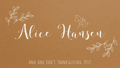 Brown Elegant Floral Calligraphy Thanksgiving Dinner Place Card Thanksgiving