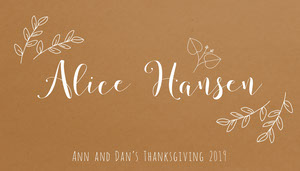 Brown Elegant Floral Calligraphy Thanksgiving Dinner Place Card Tarjetas para mesas de invitados