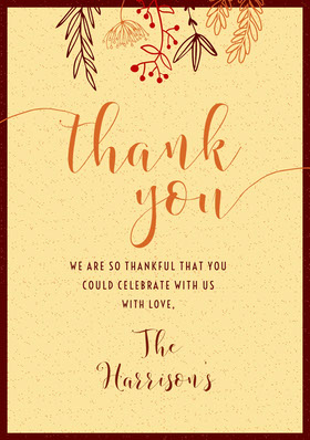 Yellow Gather Foliage Thanksgiving Thank You Card Thank You Card