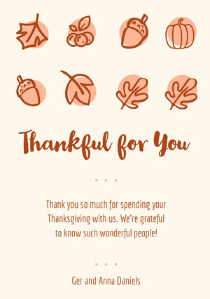 Brown Illustrated Thanksgiving Dinner Thank You Card Cartão pelo Dia de Ação de Graças