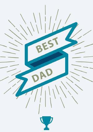 White and Blue Father's Day Card Cartão de Dia dos Pais