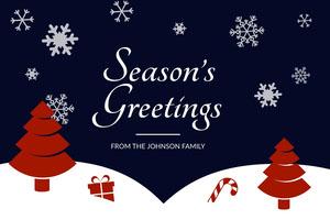 Blue, White and Red Christmas Card  Christmas Postcard