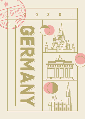 Beige and Pink, Light Toned, Germany Travel Postcard Postcards