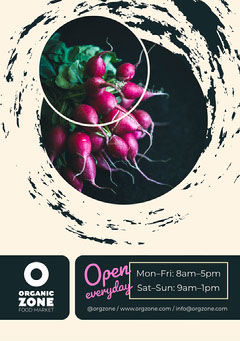 Black White and Pink Organic Zone Postcard Food Flyer