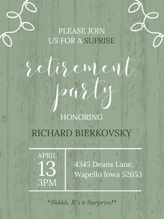 Green and White Honoring Party Promotion Retirement Party Invitation