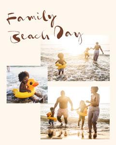 White Family Beach Day Collage Instagram Portrait  Beach