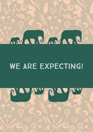 Green and Beige Illustrated Pregnancy Announcement Card with Elephants Annonce de grossesse