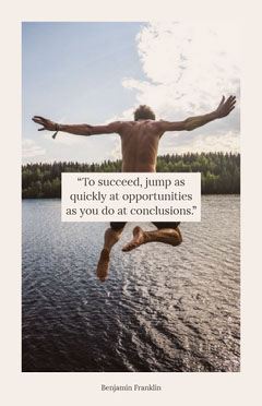 White With Jumping Man Quote Poster Lake
