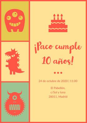 ¡Paco cumple<BR>10 años! Invitación de cumpleaños