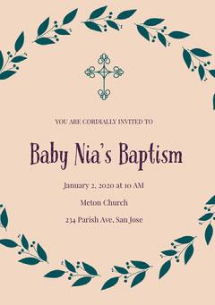 Beige and Green Baptism Invitation Baptism