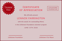 charity appreciation certificate Volunteer