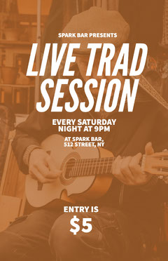 Brown and White Light Toned Live Trad Session Event Ad Poster Live Music Flyer