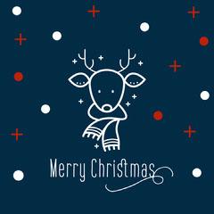 Navy & Red Reindeer Virtual Card Instagram Square   Christmas