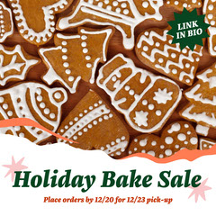 Red and Green Holiday Bake Sale Announcement Holiday Sale