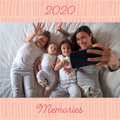 Pink 2020 Memories Family Photo-book Cover Square Kids