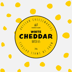 Yellow black white cheddar cheese food packaging - square Black And White