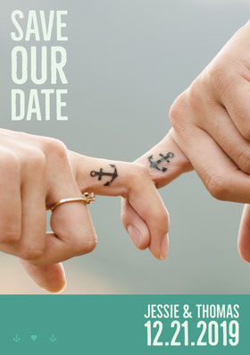 Save the Date Wedding Invitation Card with Couple Joining Fingers Save the date-kaart