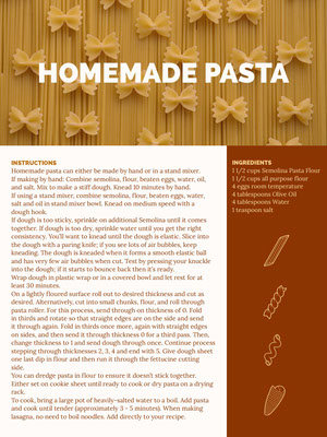 Yellow and Brown Homemade Pasta Recipe Card 조리법 카드