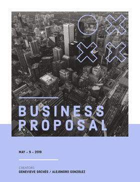 Pale Blue Business Proposal with City 提案書