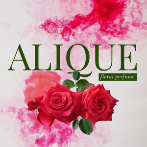 Red Pink and Green Perfume Square Instagram Ad with Roses Etikett