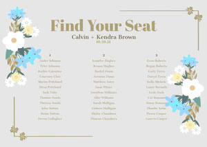 Gray Floral Wedding Seating Chart 결혼식 자리 배치